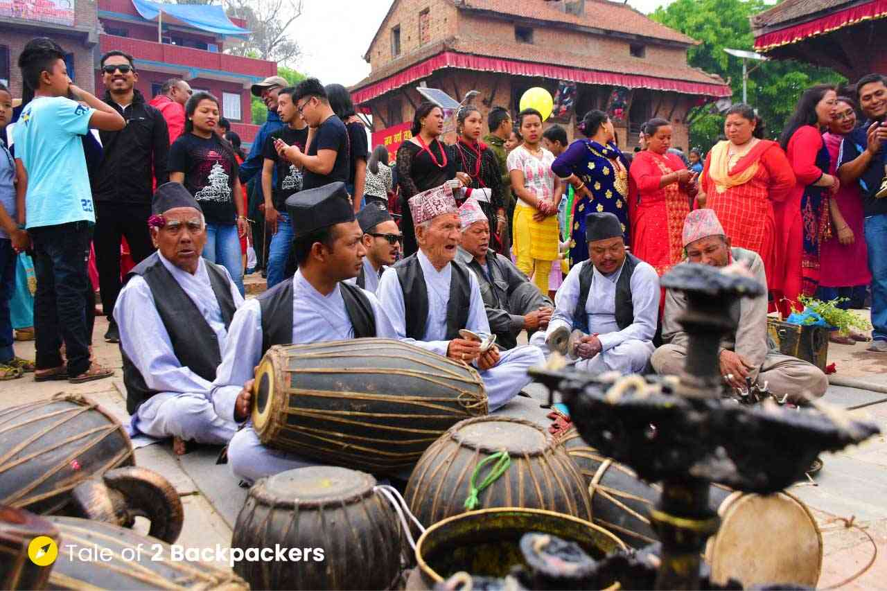 Singing at Bisket Jatra in Bhaktapur - Festival in Nepal