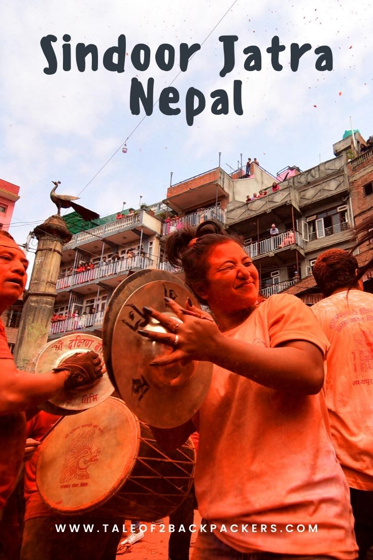 Celebrating Sindur Jatra at Thimi in Nepal