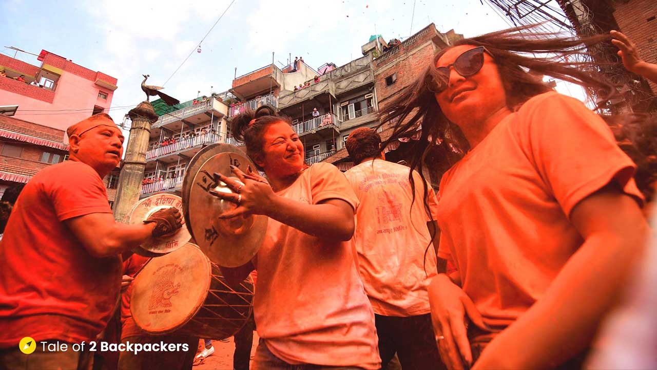 Girls dancing at Sindur Jatra in Nepal