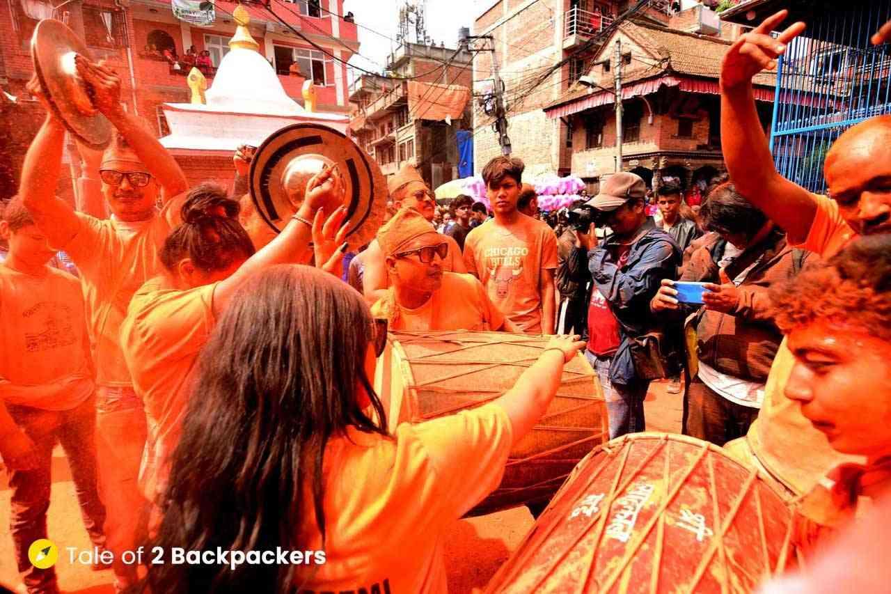Girls dancing at Sindur Jatra near Bhaktapur in Kathmandu Valley