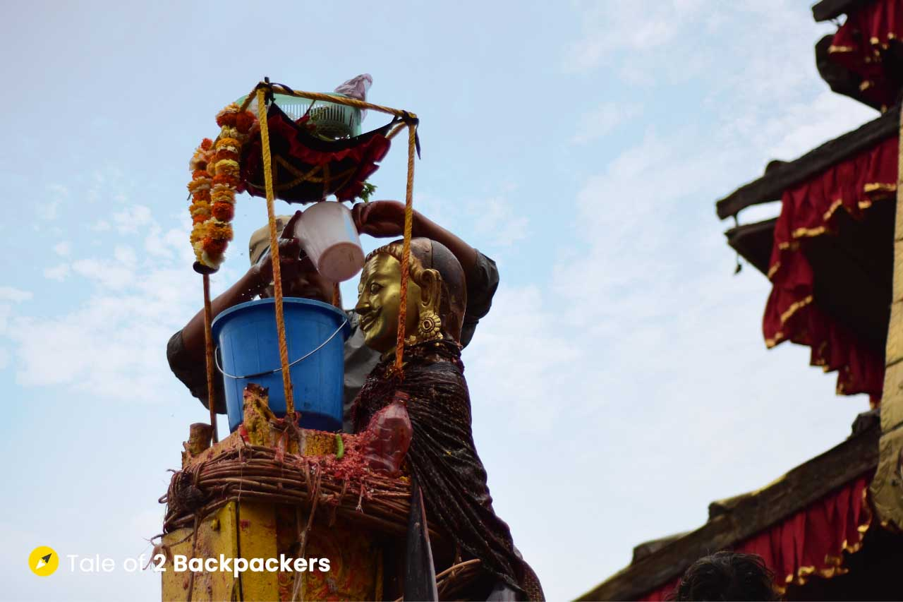 Idol of Lord Bhairab at Bisket Jatra Nepal