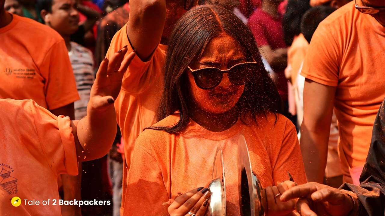Playing with cymbals at Sindoor Jatra
