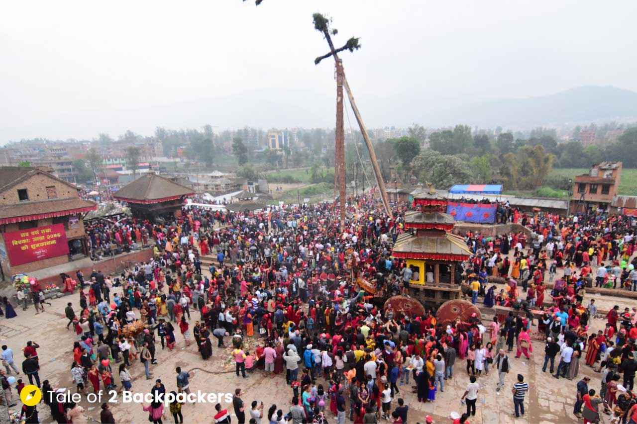 The crowd at Bhaktapur for Bisket Jatra
