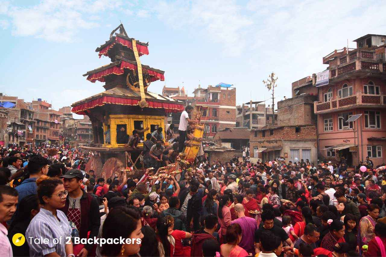The crowd at Bisket Katra in Bhaktapur Nepal